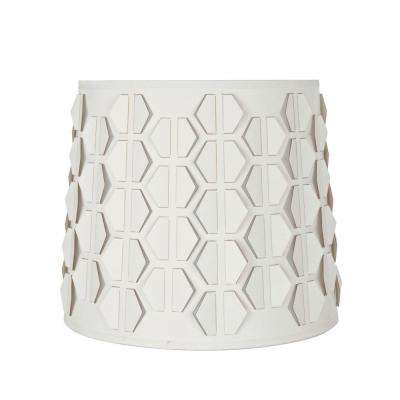 10.5 in. x 9 in. Off White and Hexagon Pattern Empire Lamp Shade