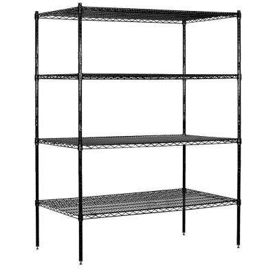 60 in. W x 74 in. H x 24 in. D Industrial Grade Welded Wire Stationary Wire Shelving in Black