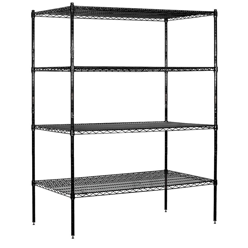 Salsbury Industries 9600S Series 60 in. W x 74 in. H x 24 in. D Industrial Grade Welded Wire Stationary Wire Shelving in Black