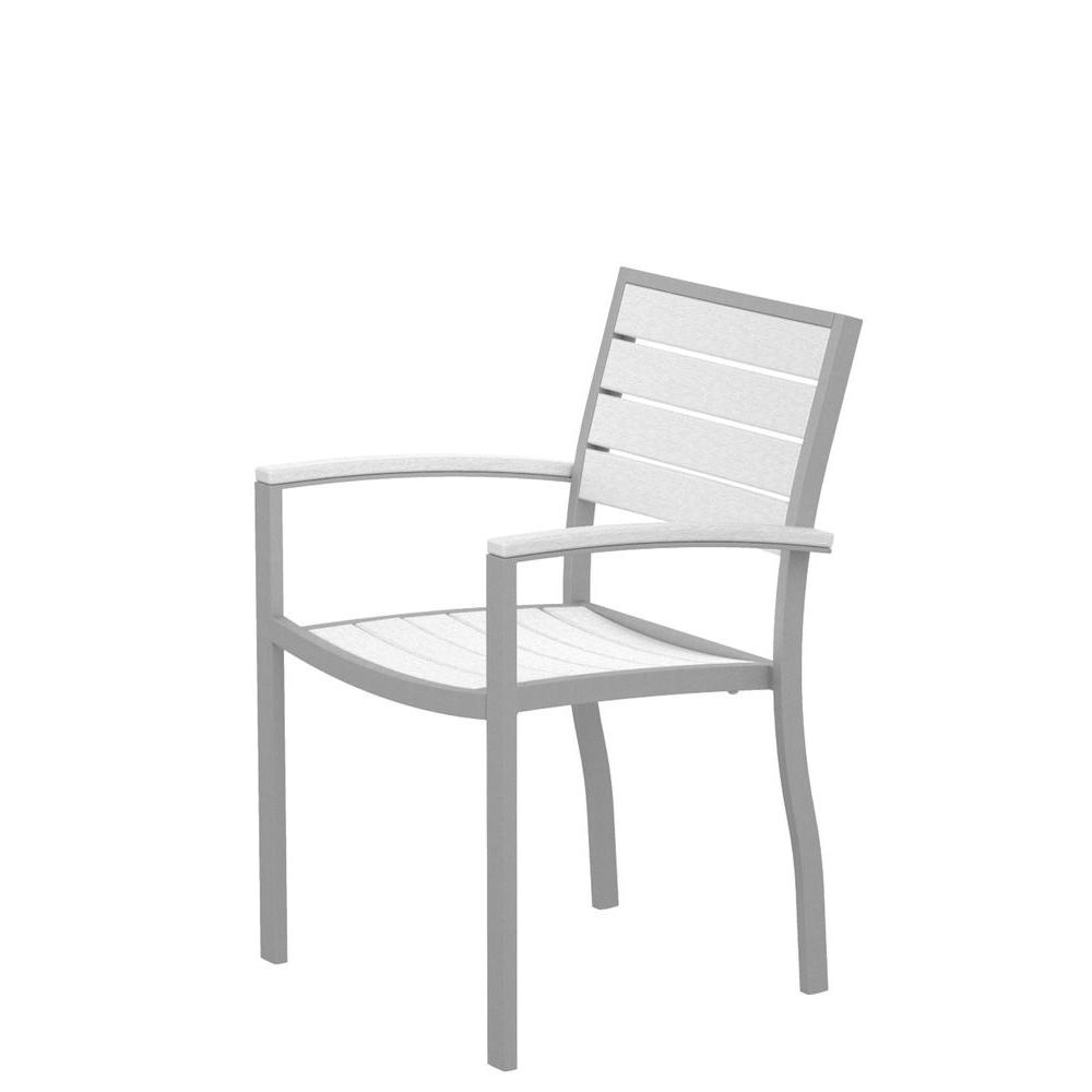 Euro Textured Silver All-Weather Aluminum/Plastic Outdoor Dining Arm Chair in