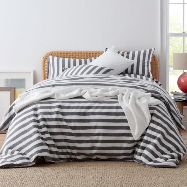 The Company Store Awning Stripe Space-Dyed Gray Jersey Knit Twin Duvet