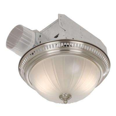 Decorative Satin Nickel 70 CFM Ceiling Bath Fan with Light and Glass Globe
