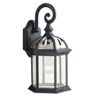 Barrie 15.5 in. 1-Light Black Outdoor Wall Mount Sconce with Clear Beveled Glass