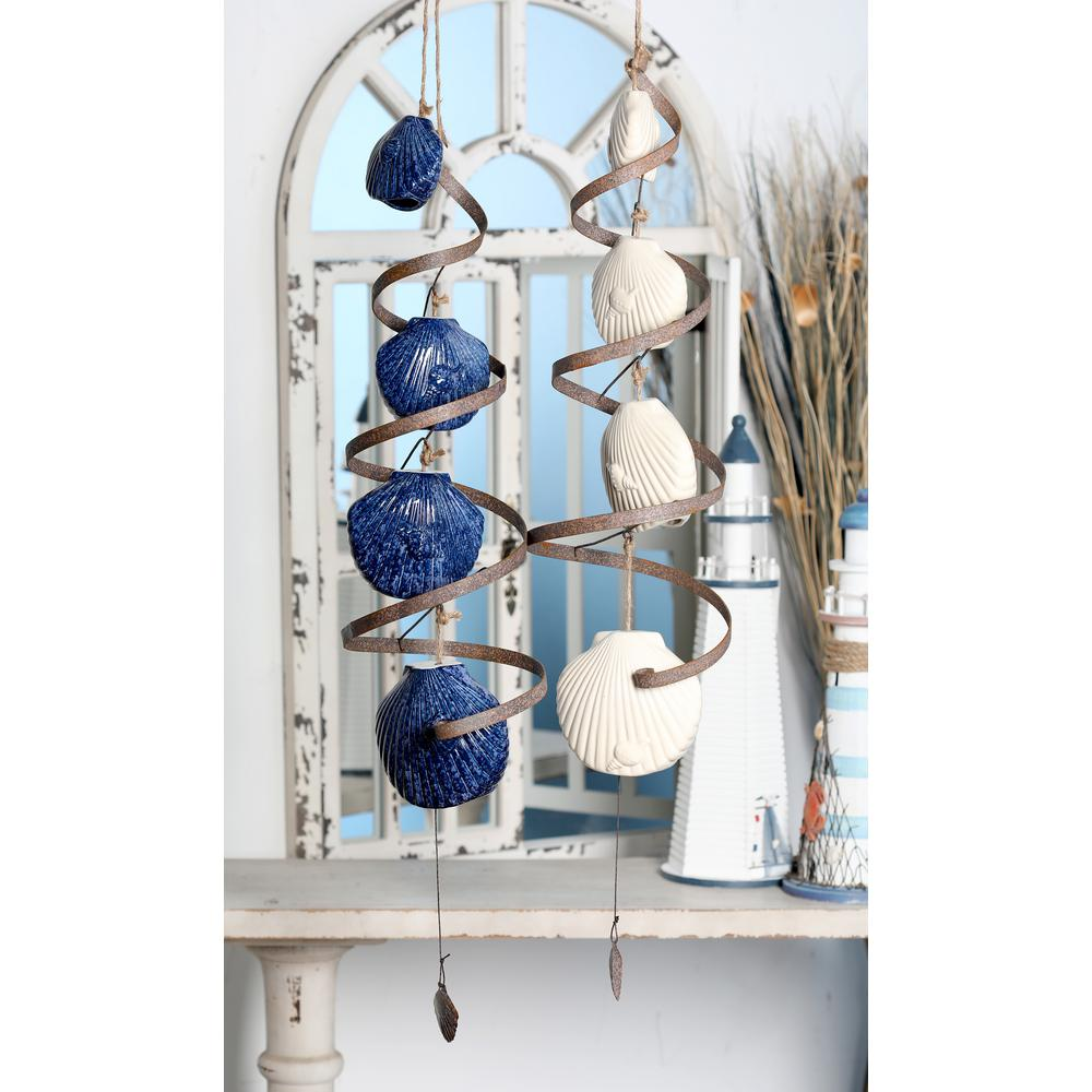 Navy Blue and White Ceramic Scallop Shell and Spiral Wind Chimes