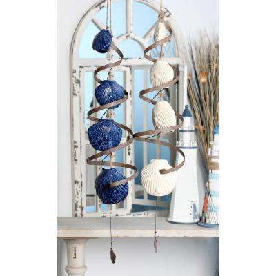 Navy Blue and White Ceramic Scallop Shell and Spiral Wind Chimes (Set of 2)