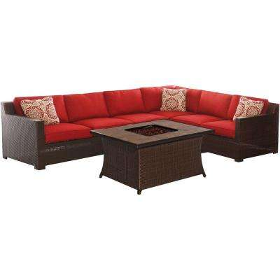 Metropolitan 6-Piece All-Weather Wicker Patio Fire Pit Seating Set with Autumn Berry Cushions and Porcelain Tile Table
