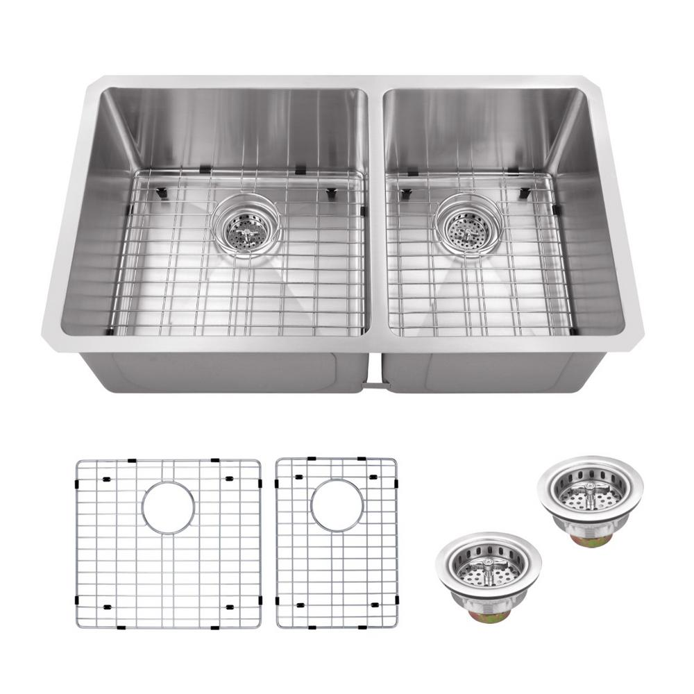 IPT Sink Company Undermount 32 in. 16-Gauge Stainless Steel Double Bowl Kitchen Sink in Brushed Stainless, Brushed Stainless Steel was $361.25 now $269.0 (26.0% off)