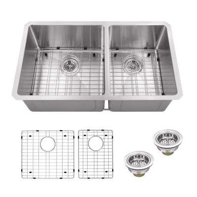 Undermount 32 in. 16-Gauge Stainless Steel Double Bowl Kitchen Sink in Brushed Stainless