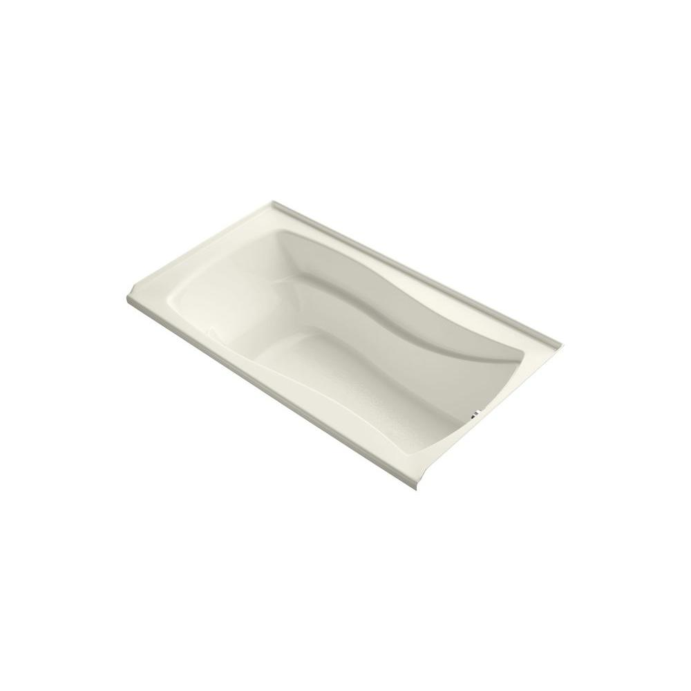 KOHLER Mariposa VibrAcoustic 5.5 ft. Rectangle Right Drain Soaking Tub in Biscuit