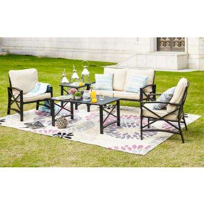 5-Piece Metal Patio Conversation Set with Beige Cushions