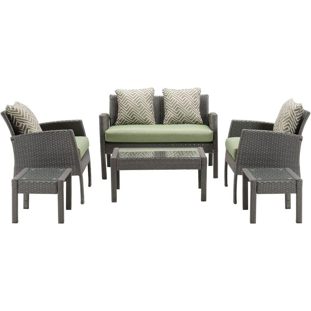 Bon Hanover Chelsea 6 Piece All Weather Wicker Patio Seating Set With Cilantro  Green Cushions