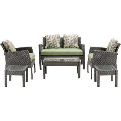 Chelsea 6-Piece All-Weather Wicker Patio Seating Set with Cilantro Green Cushions