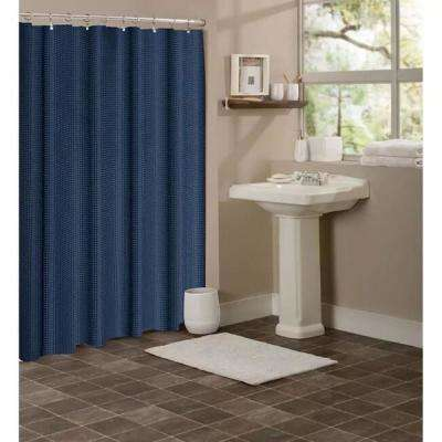 Hotel Collection Waffle 72 in. Navy Shower Curtain
