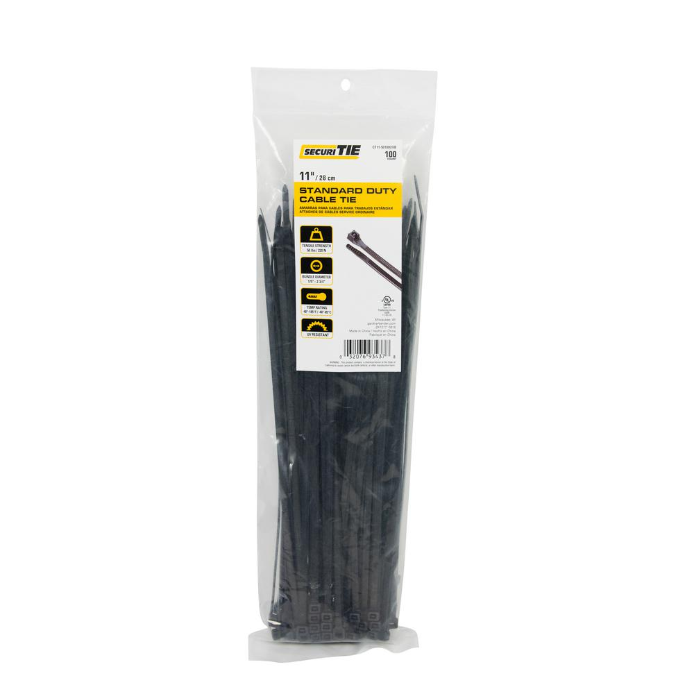 c9fb8b127062 Gardner Bender 11 in. Cable Tie, 50 lb. Tensile, UV Black, 100-Pack ...