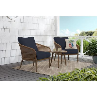 Coral Vista 3-Piece Brown Wicker Outdoor Patio Bistro Set with CushionGuard Midnight Navy Blue Cushions