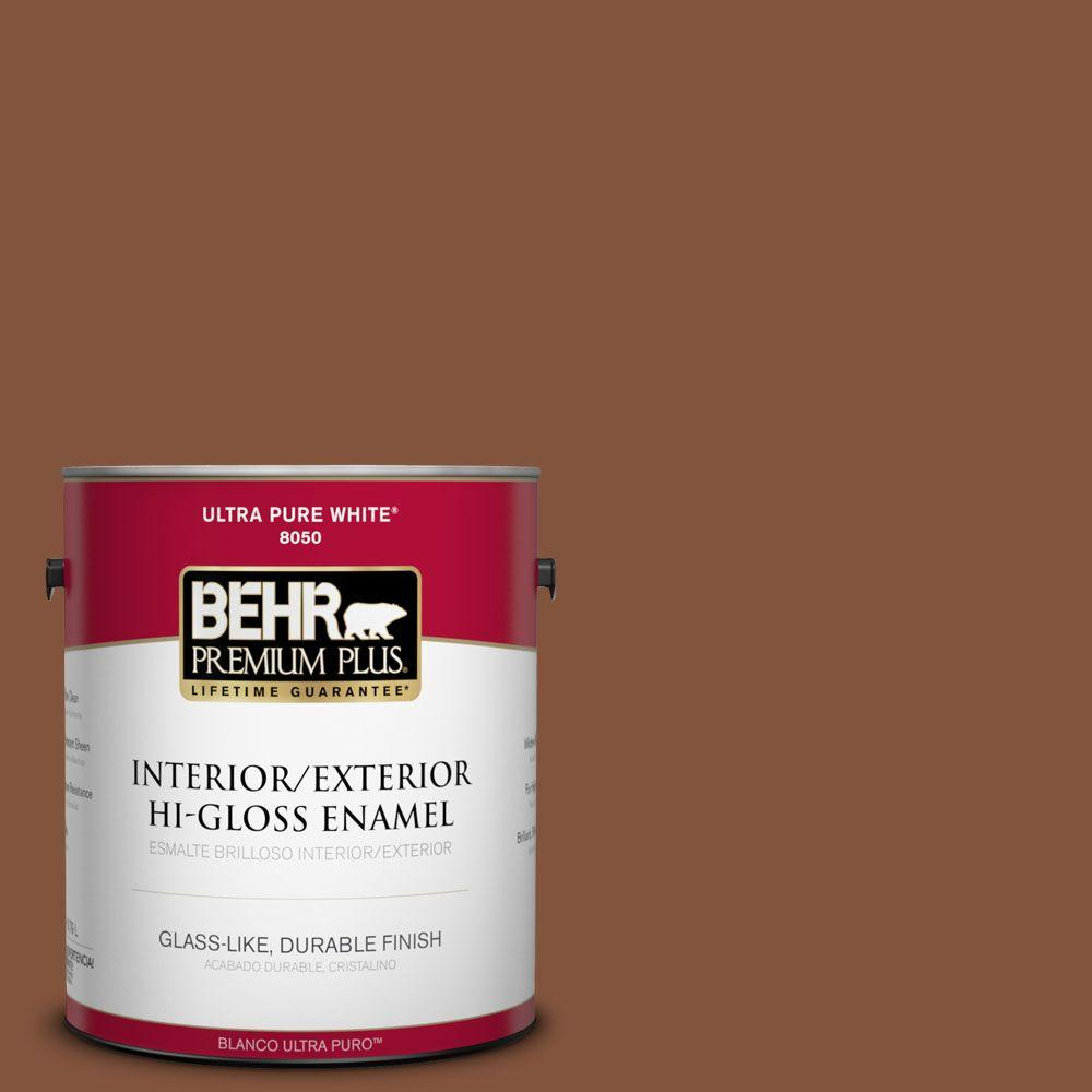 1-gal. #230F-7 Florence Brown Hi-Gloss Enamel Interior/Exterior Paint
