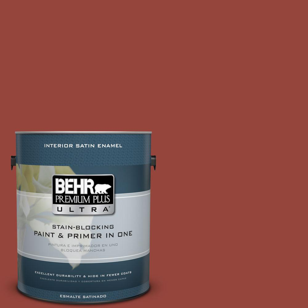 1 gal. #PPU2-17 Morocco Red Satin Enamel Interior Paint and Primer