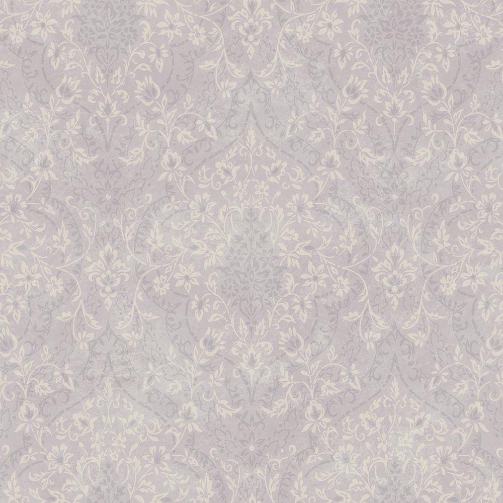 Essex Lavender Lacey Damask Wallpaper Sample