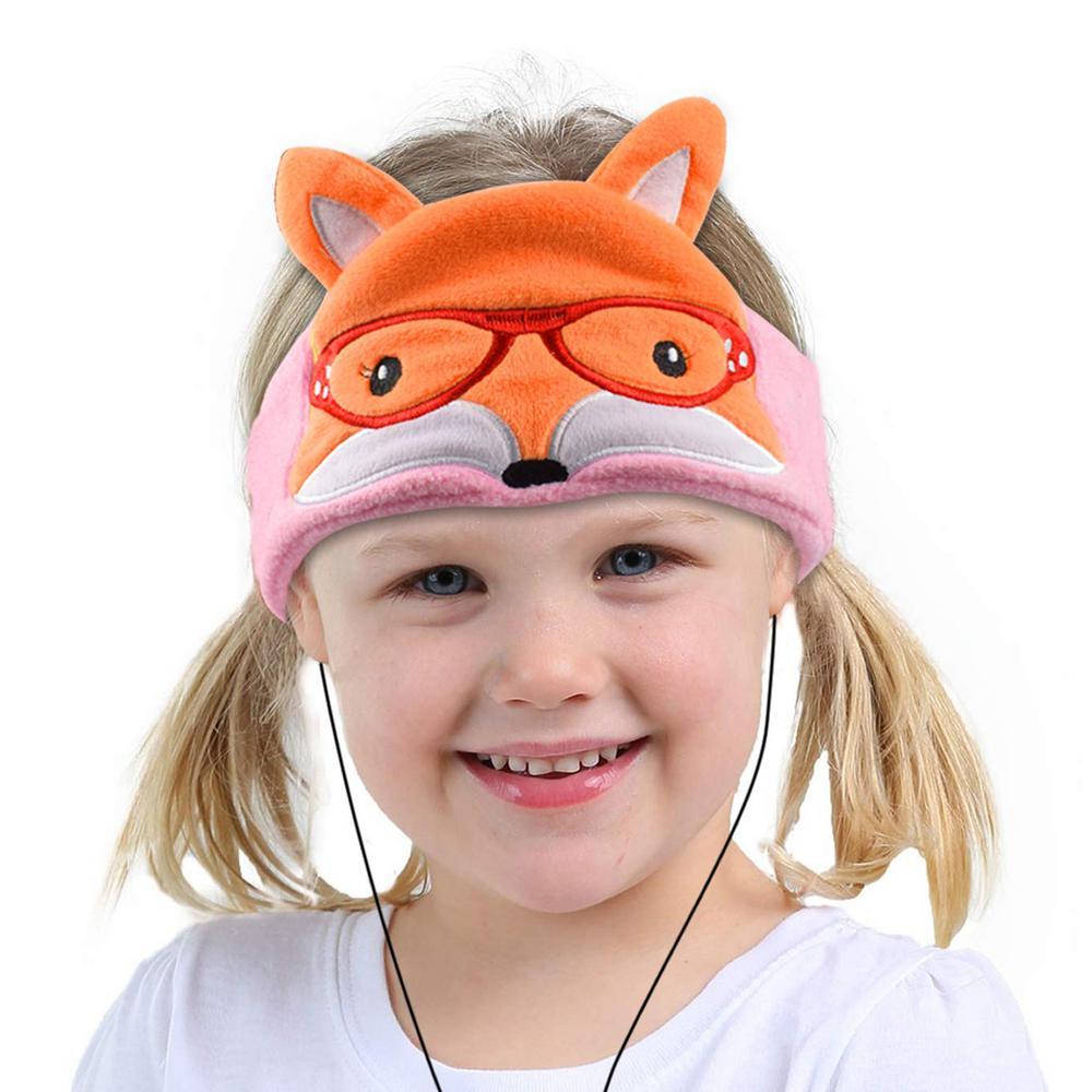 Kids Headphones Volume Limiter Machine Washable Fleece Headphones for Children Travel or Home w/ Adjustable Band (Fox)