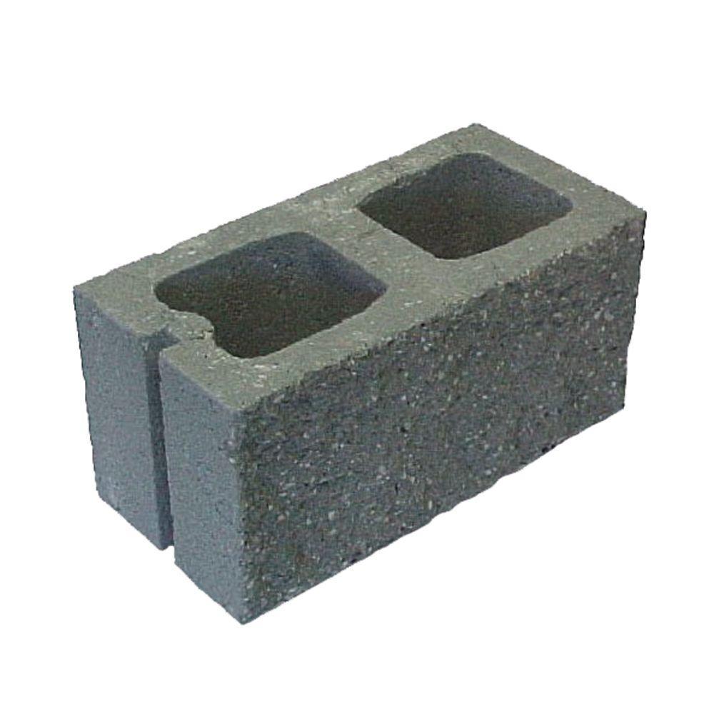 8 in x 8 in x 16 in grey split faced concrete block for Split face block house