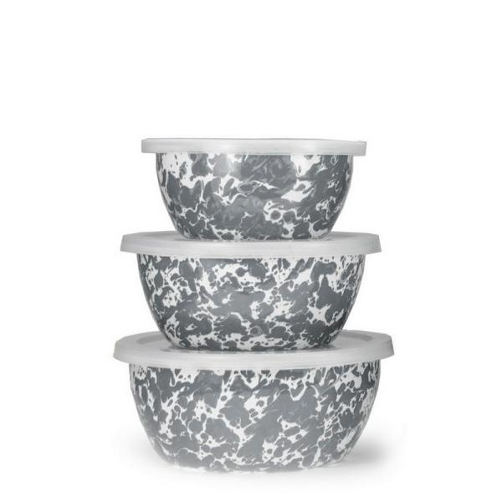 Golden Rabbit Grey Swirl 3-Piece Enamelware Bowl Set with Lid GY30