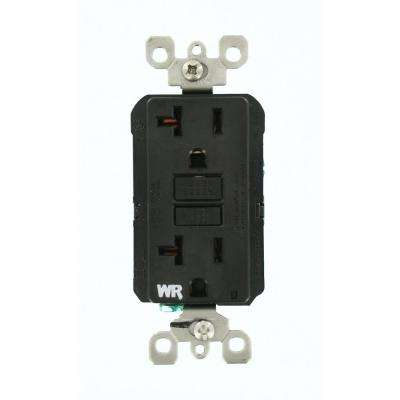 20 Amp SmartlockPro Weather Resistant GFCI Outlet, Black