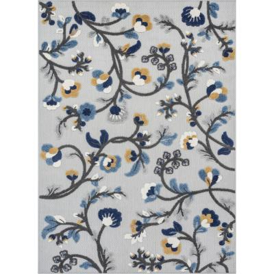 Dorado Wilmington Blue Modern Tropical Leaves Blue Hight-Low Indoor/Outdoor 7 ft. 10 in. x 9 ft. 10 in. Area Rug