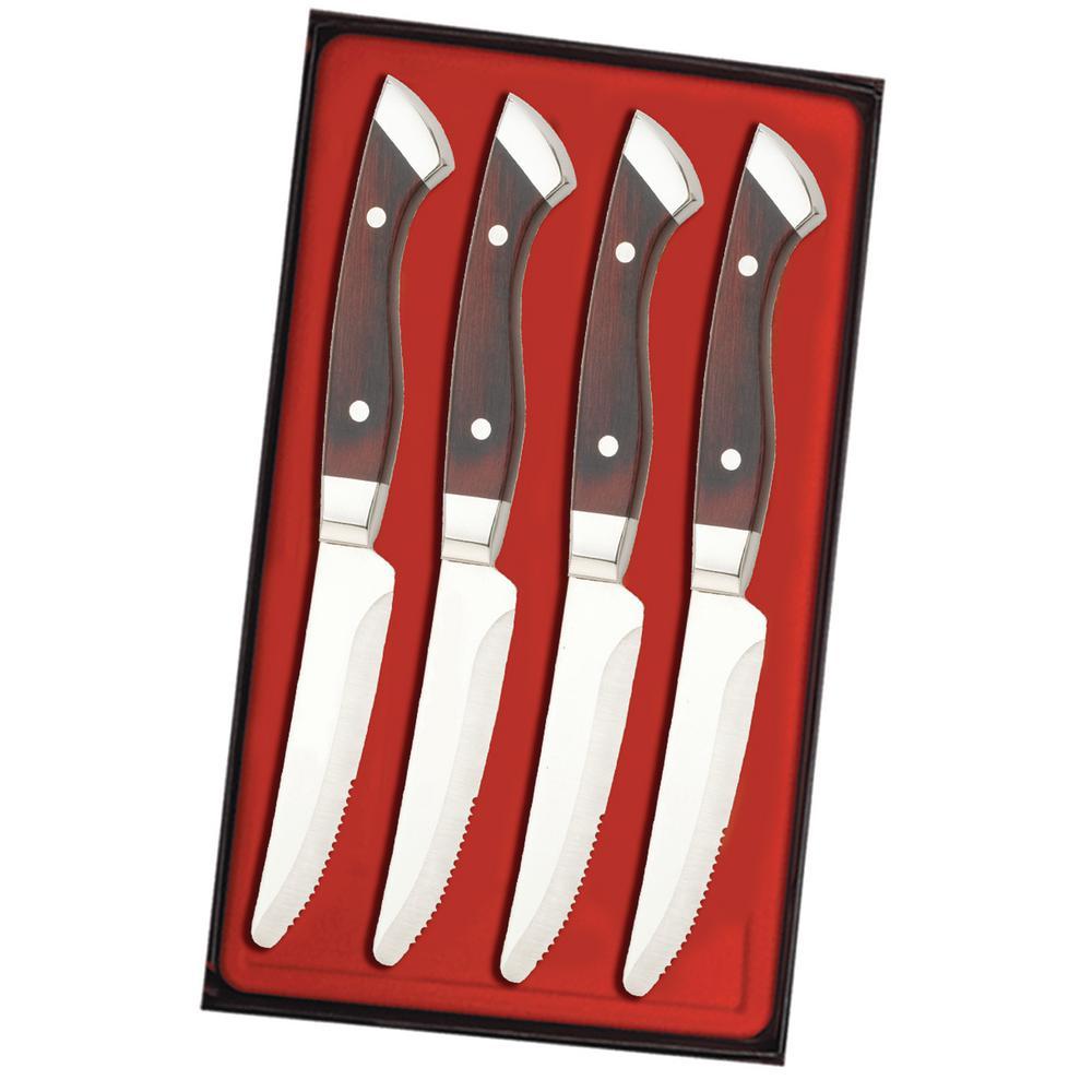 Utica Cutlery Co. Utica Cutlery Company Denver Chop, Pakka Wood, 4 pc Steak Knife Set by Utica Cutlery Co.
