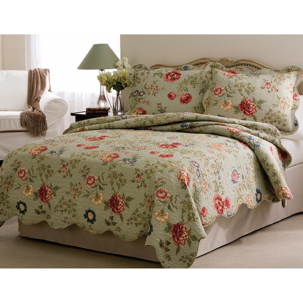 Edens Garden Twin Quilt with Pillow Sham