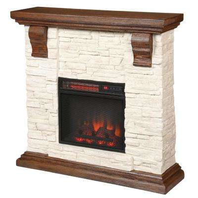 Highland 40 in. Media Console with Faux Stone Electric Fireplace TV Stand in Rustic White