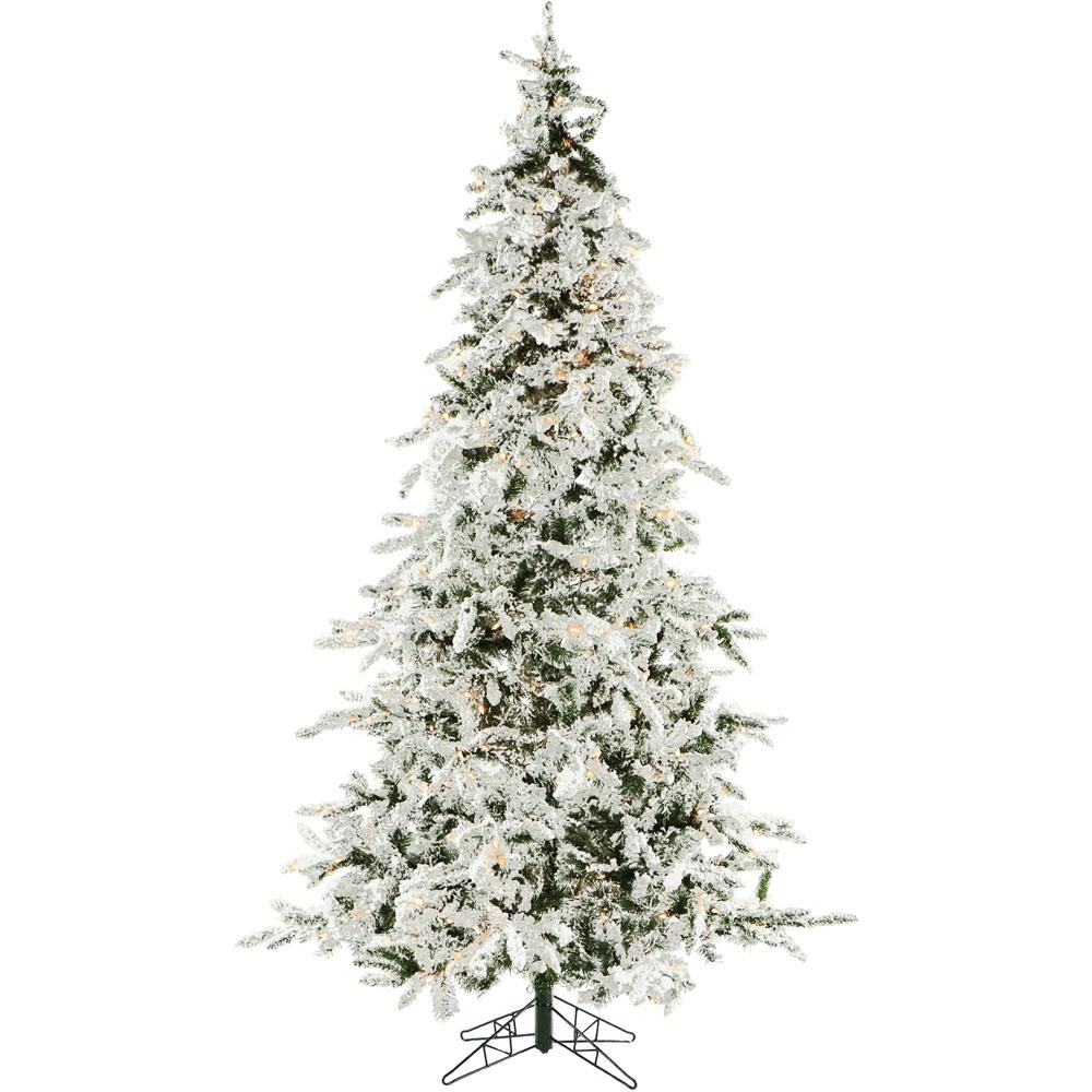 7.5 ft. White Pine Snowy Artificial Christmas Tree with Clear Smart