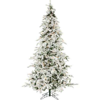7.5 ft. White Pine Snowy Artificial Christmas Tree with Clear Smart String Lighting