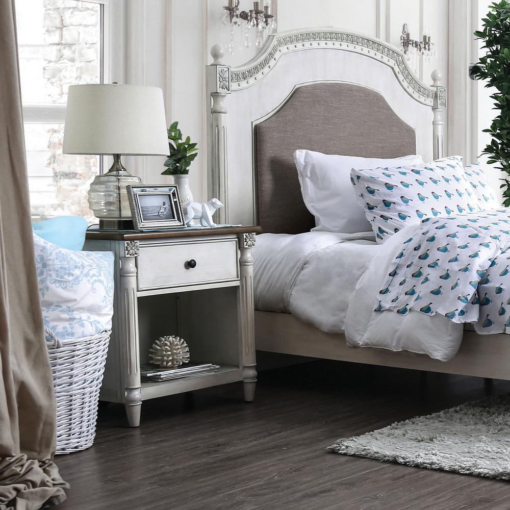 Furniture of America Emelia 1-Drawer Antique White Nightstand