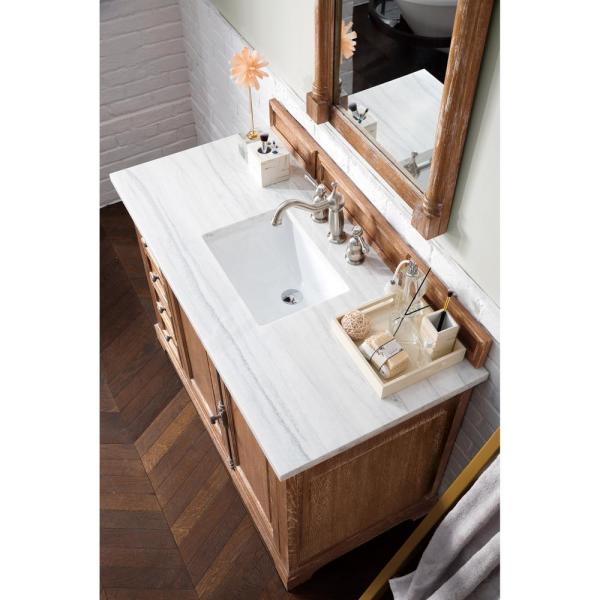 Providence 48 in. Single Vanity in Driftwood with Solid Surface Vanity Top in Arctic Fall with White Basin