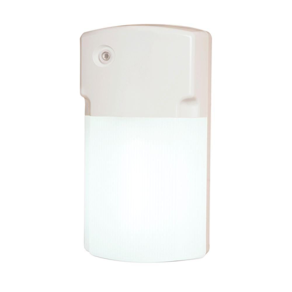 26-Watt White Outdoor Fluorescent Wall Pack Light with Dusk to Dawn