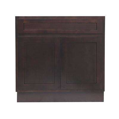 30 in. W x 21 in. D x 32.5 in. H 2-Doors Bath Vanity Cabinet Only in Brown