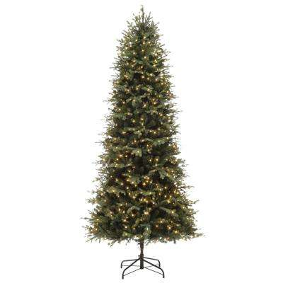 Pre Lit Rotating Christmas Tree.7 5 Ft Pre Lit Led Starlin Slim Color Changing 8 Function Artificial Christmas Tree With 800 Micro Dot Lights