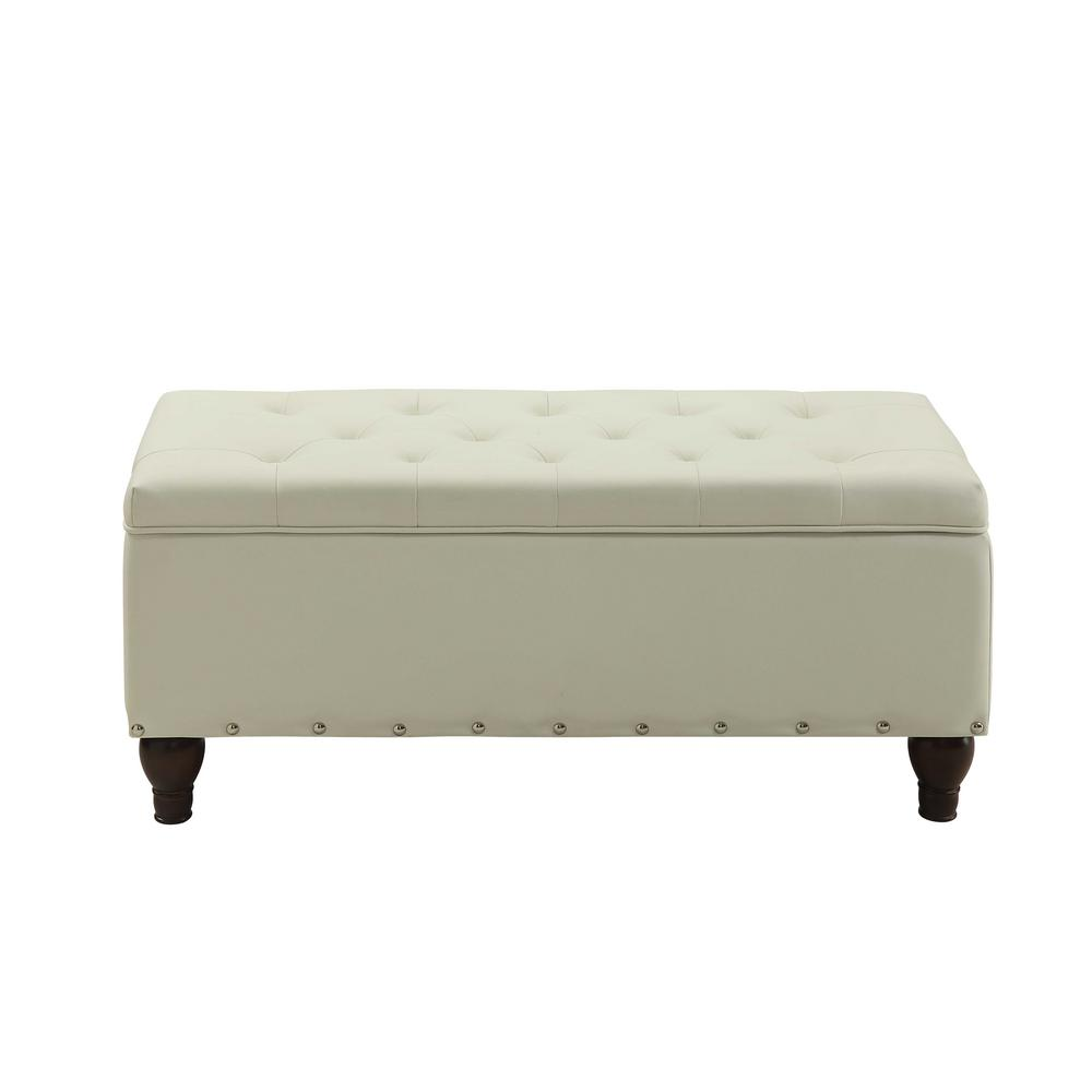 Estee Cream PU Storage Bench