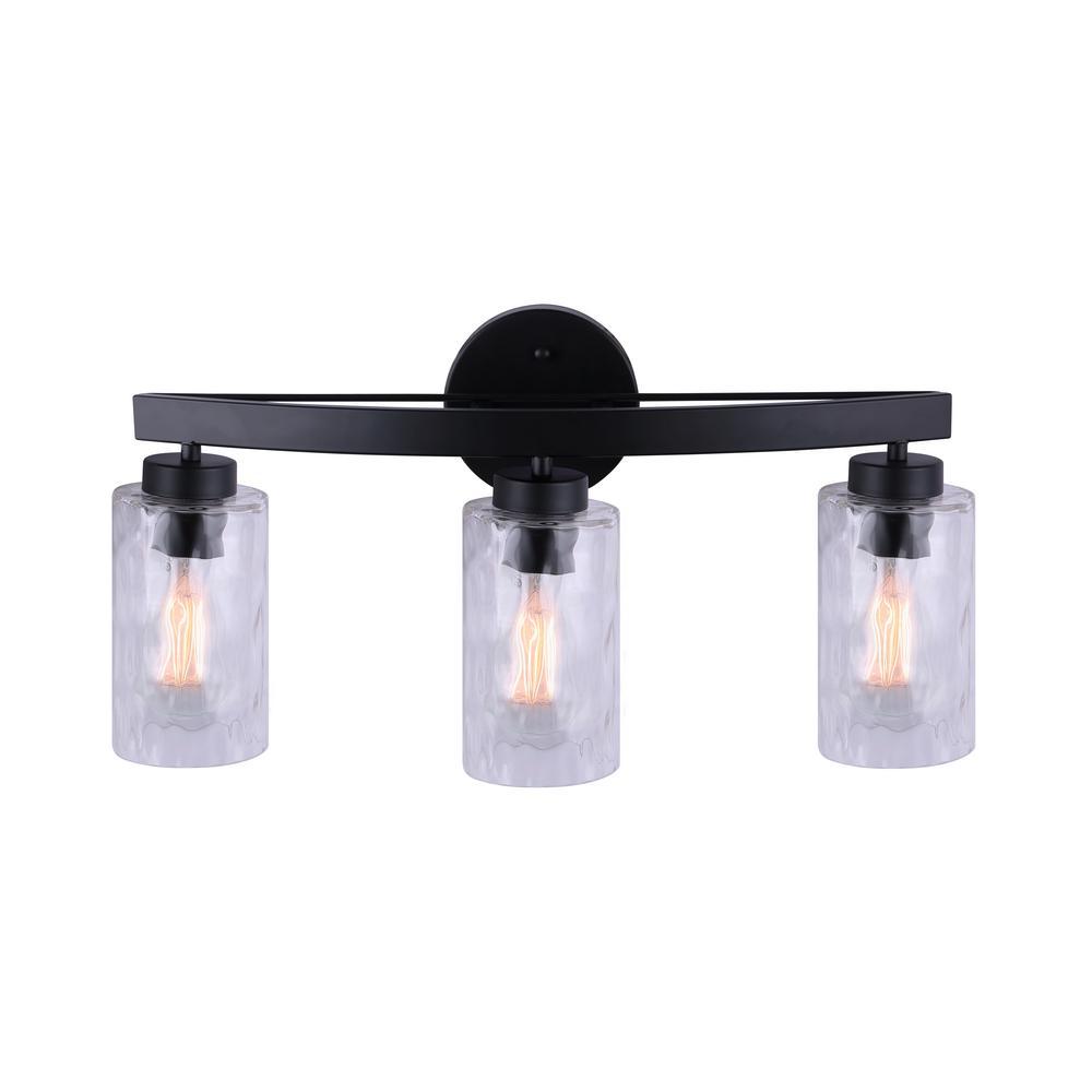 Newport 22 in. 3-Light Matte Black Vanity Light with Watermark Glass Shades
