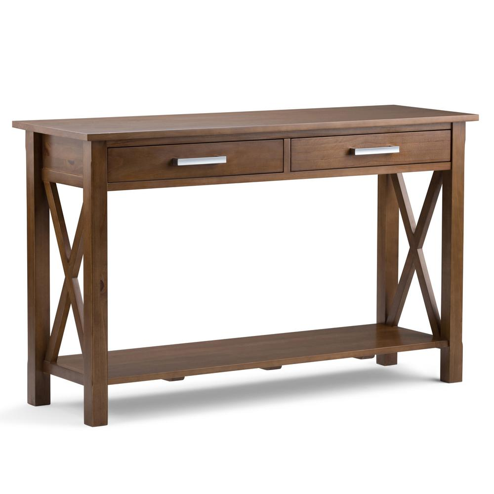Simply Home Kitchener Medium Saddle Brown Storage Console...
