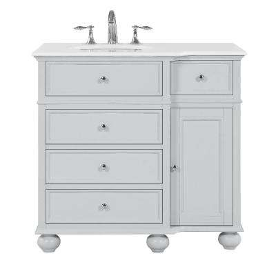 Hampton Harbor 36 in. W x 22 in. D in Dove Grey Bath Vanity with Natural Marble Vanity Top in White with White Sink