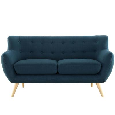 Remark 61.5 in. Azure Polyester 2-Seater Loveseat with Tapered Wood Legs
