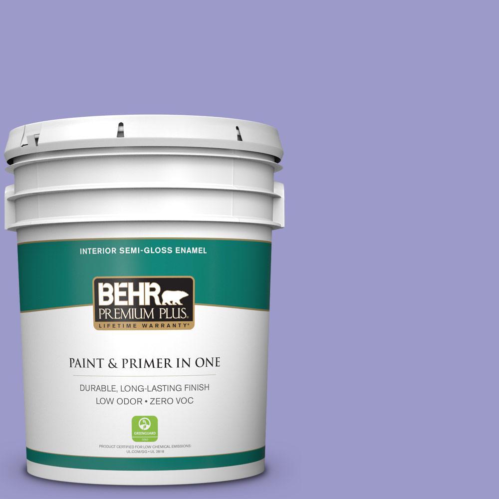 BEHR Premium Plus 5-gal. #630B-5 Majestic Violet Zero VOC Semi-Gloss Enamel Interior Paint