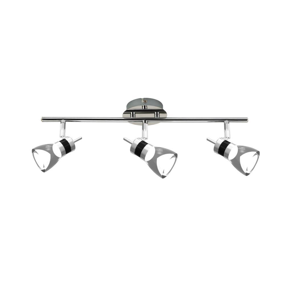 LED 19.7 inches 3-Light Brushed Chrome Integrated LED Track Lighting Kit  sc 1 st  The Home Depot & Hampton Bay 12 ft. 120 Volt Flexible Track Lighting Starter Kit in ... azcodes.com