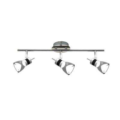LED 19.7 in. 3-Light Brushed Chrome Integrated LED Track Lighting Kit