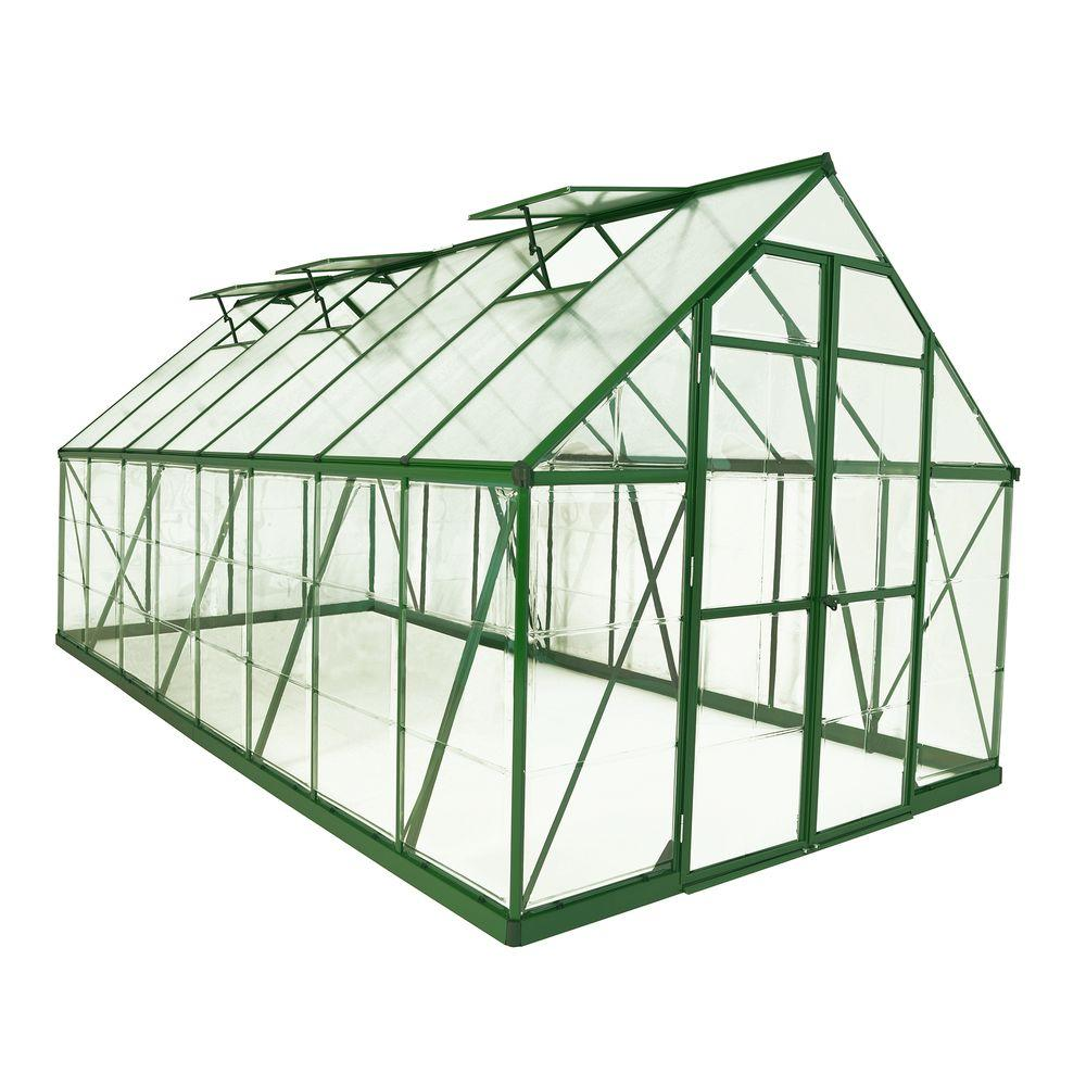 Palram Balance 8 ft. x 16 ft. Green Polycarbonate Greenhouse