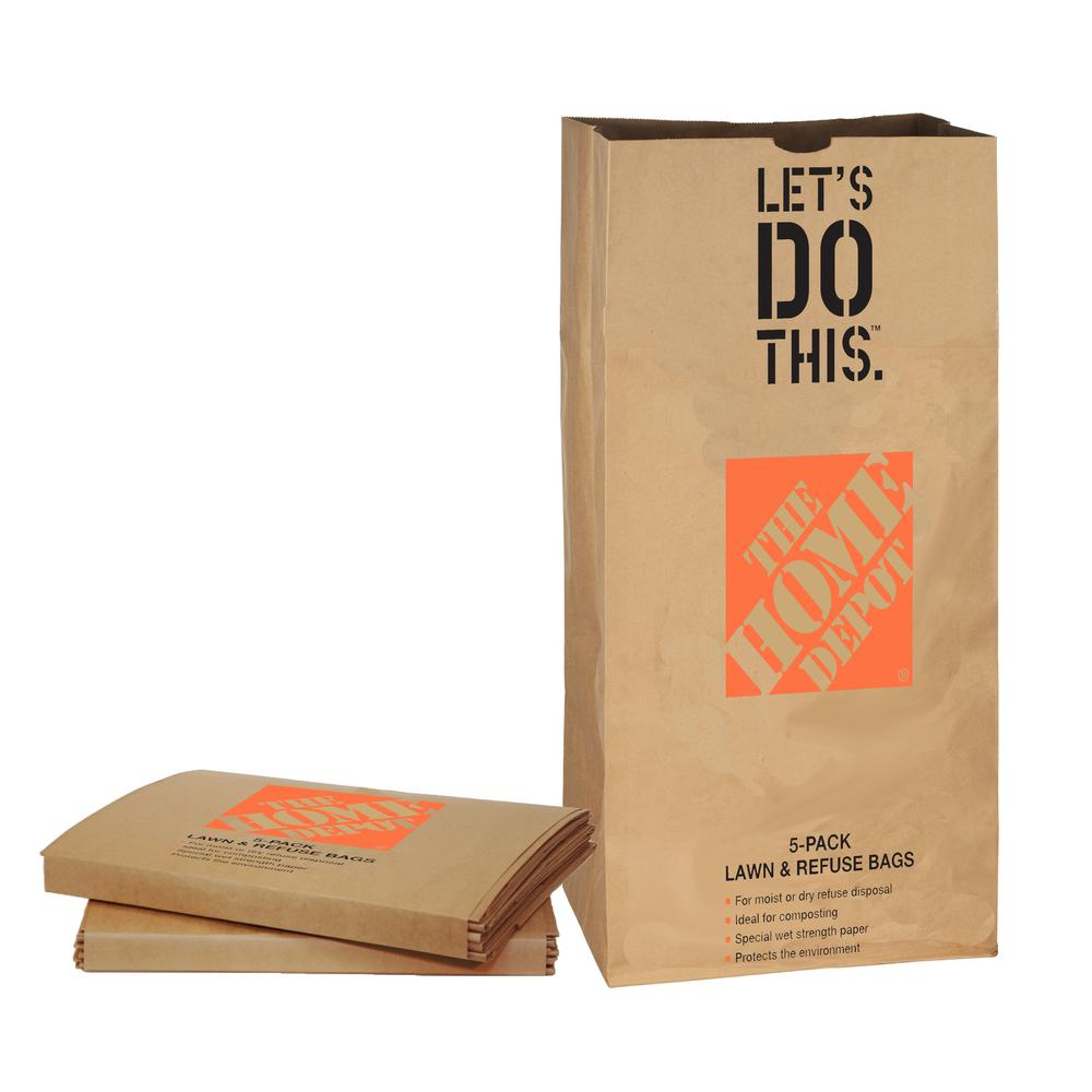 The Home Depot 30 Gal. Paper Lawn and Leaf Bags (50-Pack), Tan The Home Depot 30 Gal. Paper Lawn and Refuse Bags feature 2-ply wet-strength paper construction for durability and tear resistance. The bags are suitable for moist or dry refuse disposal. Suitable for use in composting in your garden.