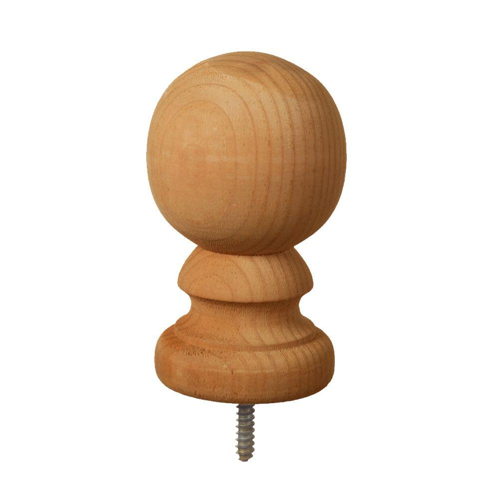 null 4 in. x 4 in. Pressure-Treated Cedar-Tone Pine Ball Top Finial (6-Pack)