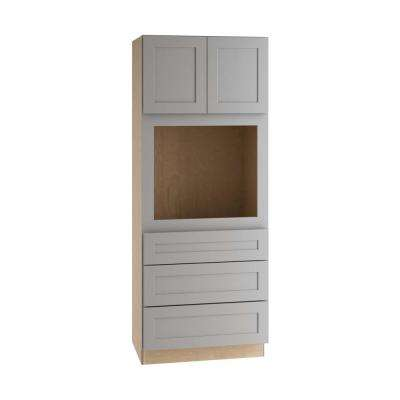 Tremont Assembled 33 x 84 x 24 in. Pantry/Utility Cabinet with 3 Soft Close Drawers and 2 Soft Close Doors in Pearl Gray