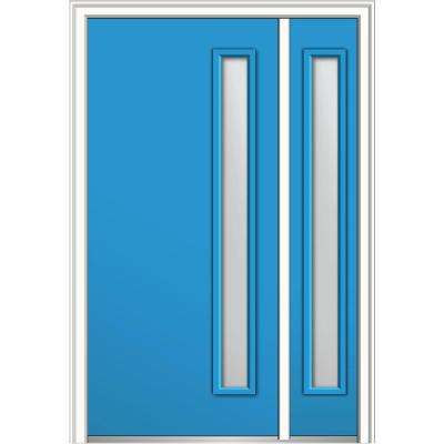 50 in. x 80 in. Clear Low-E Glass Right-Hand 1-Lite Modern Painted Fiberglass Smooth Prehung Front Door with Sidelite